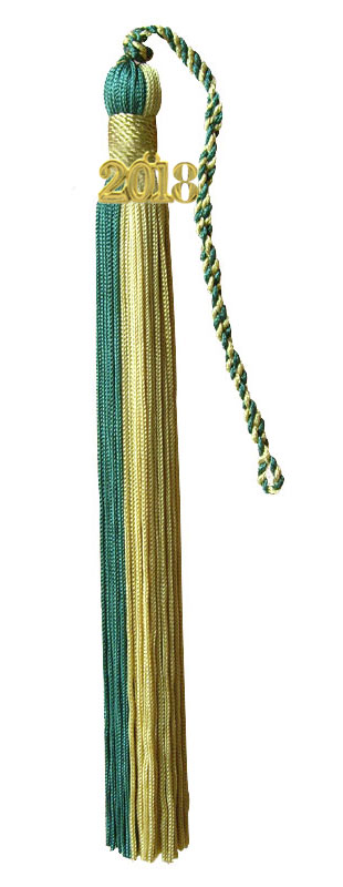 Hunter Green and Light Gold Graduation Tassel