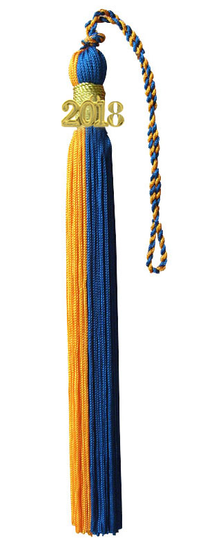 Orange and Royal Blue Graduation Tassel
