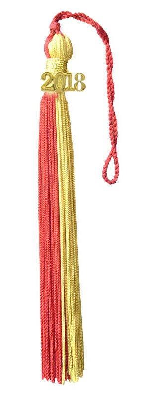 Red and Light Gold Graduation Tassel
